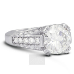 2.79ct E-si2 Round Natural Diamonds 950 Pl. Vintage Style Side-stone Ring