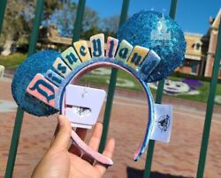 New Disneyland Marquee Sign Logo Sequined Blue Minnie Ears. New With Tags