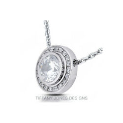 1 1/4 Ct H Si1 Round Cut Earth Mined Certified Diamonds 14k Gold Halo Pendant
