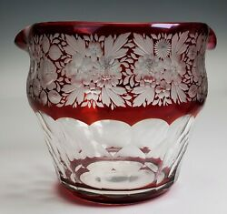 Antique Glass Ruby Flashed Engraved Flowers Cut Honeycomb Wine Rinser Bowl