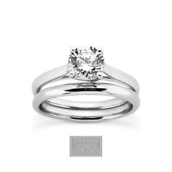 1/2 Ct E Si1 Round Cut Natural Certified Diamond Plat Ring With Wedding Band