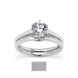 1ct F Si2 Round Earth Mined Certified Diamond 14k Gold Ring With Wedding Band
