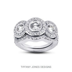 1 1/2ct D Vs2 Round Natural Certified Diamonds 14k Halo Ring With Matching Band
