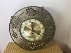 Welby German Wind Up Wall Gold Tone Brass Clock Chains-key 8 Day Mid Century