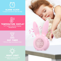 Beenate LED Digital Alarm Clock Thermometer Display with Night Light for Kids