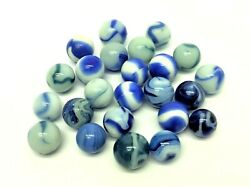 Mixed Antique Lot Old Blue White Swirl Corkscrew Glass Marbles Decorative