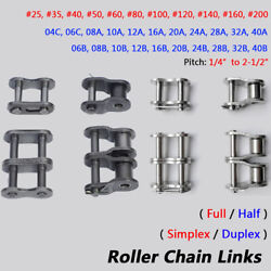 Simplex / Duplex Roller Chains 25-200 Pitch 1/4-2 Full/half Connecting Links