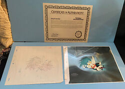 The Real Ghostbusters Original Production Cel, Background And Drawing Sony Coa