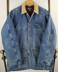 Vtg Polo Large Denim Hunting Wool Lined Chore Coat Game Pouch Mens