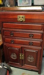 Vintage Chinese Burl Rosewood Cabinet Or Flatware Silverware Chest