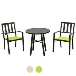 Patio Metal 3 Piece Set - 2 Chairs And Side Table Furniture Garden Outdoor