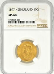 1897 Netherlands 10 Gulden Gold Coin Ngc Ms 64 Km 118 Wilhelmina I
