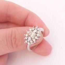 18ct Gold 1.40ct Oval Baguette Round Cut Diamond Cluster Ring , Heavy 6.5 Grams