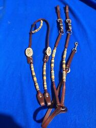 Quality Champion Turf Headstall, Breastcollar Crumrine Buckles Sterling Overlaid
