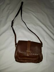 Dooney And Bourke Brown Florentine Leather Small Crossbody Bag $60.00