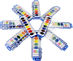 Color Swell Watercolor Paint Bulk 18 Pack With Wood Brushes 8 Colors Washable Wa