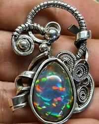 Incredible 7ct Black Opal Silver Pendent 😍