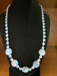 Shabby Chic Round Rhinestone Silver Tone Necklace - Cheep Looking Bling 17 +