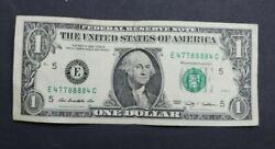 1 One Dollar Bill 2009 Fancy Serial Number Trinary - Poker 4 Of Kind And Pair