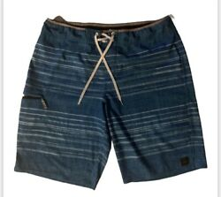 Oandrsquoneill Menand039s Board Shorts-green Blue White Striped Waistband Piped-size 38