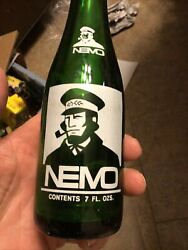 Acl Nemo Beverages Soda Bottle Grove City Pa Penn. Captin Picture Label Green Gl