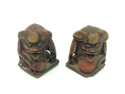 Antique Old Carved Chinese Gargoyle Red Wood Furniture Finials Decorative Parts