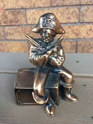 Vintage Pirate Coin Bank With 2 Pistols Cast Metal Bronzed Treasure Chest U.s.a
