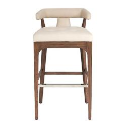 Luxe Sleek Contemporary Ivory Leather Bar Stool 38 In Open T Back Walnut Wood