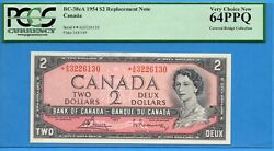 2 1954 Bank Of Canada Note A/g Replacement Bc-38ca - Pcgs Ch Unc-64 Ppq