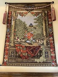 VINTAGE TAPESTRY WALL HANGING English Roses And Stallions Scene