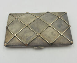 Rare Vintage Sterling Silver And 18k Yellow Gold Raised Quilted Card Case