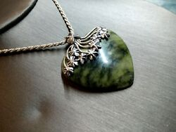 Outstandingly Beautiful Heart Green Serpentine Necklace Sterling Silver