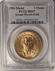 1980 Grant Wood American Arts 1 Oz. Gold Medal Pcgs Ms67 Andmdash Hard To Find