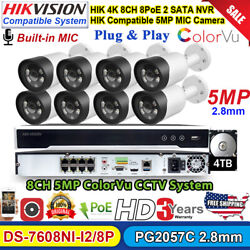 Fullhd 8ch Cctv System Hikvision Compatible 5mp Colorvu Mic Bullet Ip Camera Lot
