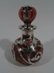 Gorham Perfume - D941 - Antique Bottle - American Red Glass Silver Overlay