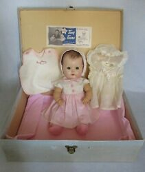 American Character Tiny Tears Doll Pat. Pend. 16andrdquo Molded Hair Layette Box 1950