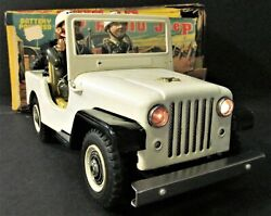 Vintage 1950s Boxed Nomura Pressed Steel Toy Mp Military Police Jeep Works
