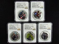 2015 Niue 2 Avengers Colorized Ngc Pf70 Ultra Cameo 1oz .999 Silver 5 Coin Set