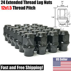 24pc 12x1.5 Black Extended Thread Bulge Acorn Lug Nuts Et Tapered Conical Seat