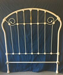 Heirloom Antique Cast Iron Full Sized Bed Frame In Floral And Fleur De Lis Theme