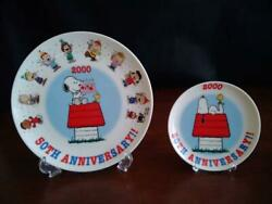 Snoopy 50th Anniversary Plate Dish Peanuts Tableware Kitchen Interior Character