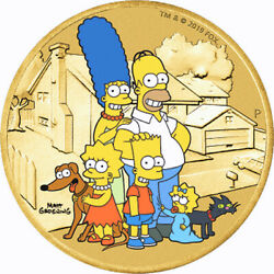 Tuvalu 2019 – The Simpsons Family With Australia's Stamp – 1 Alum. Bronze Coin