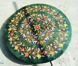 36 Green Marble Coffee Dining Table Top Fancy Inlay Antique Mosaic Malachite