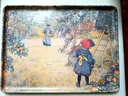 Vintage Carl Larrson Serving Tray Apple Picking Melamine 14 X 11 Made In Italy