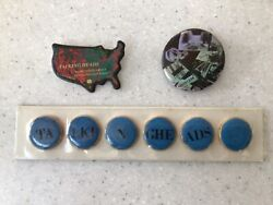 Talking Heads-promo Pins. 3 Sets Including Ultra Rare Rauschenberg Design