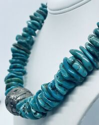 Antique Qing Dynasty Handmade Tibetan Tribal Raw Turquoise Nugget Bead Necklace