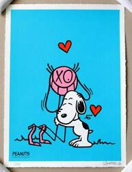 Andre Saraiva Mr. A Loves Snoopy Signed Blue Silk Print