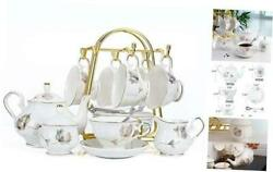 21-piece Porcelain Ceramic Coffee Tea Gift Sets Cupsand Saucer Service For Happy