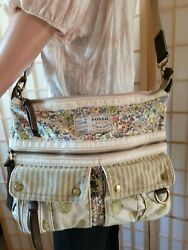 Fossil Morgan Large Floral Canvas Crossbody Messenger Shoulder Bag $35.00