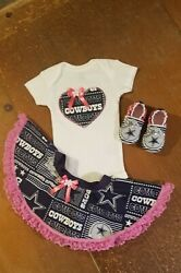 Dallas Cowboys Baby Girl 3 Piece Tailgating Outfit 0-3 Months Skirt Baby Girl